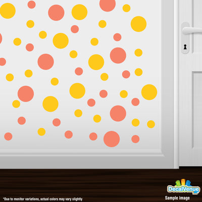Coral / Yellow Polka Dot Circles Wall Decals