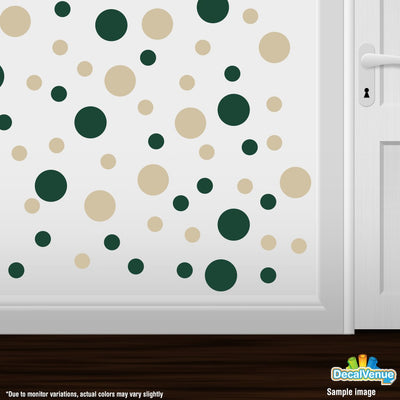 Dark Green / Beige Polka Dot Circles Wall Decals - Polka Dot Circles at Decal Venue