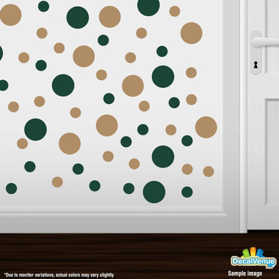 Dark Green / Light Brown Polka Dot Circles Wall Decals-Polka Dot Circles-Decal Venue