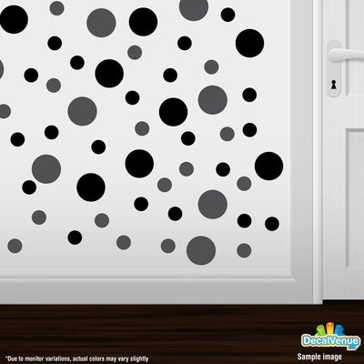 Dark Grey / Black Polka Dot Circles Wall Decals | Polka Dot Circles | DecalVenue.com