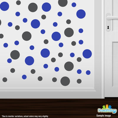 Dark Grey / Blue Polka Dot Circles Wall Decals-Polka Dot Circles-Decal Venue
