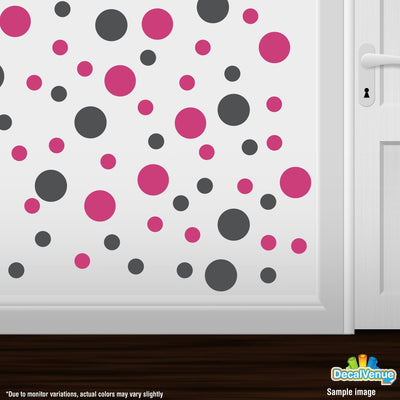 Dark Grey / Hot Pink Polka Dot Circles Wall Decals | Polka Dot Circles | DecalVenue.com