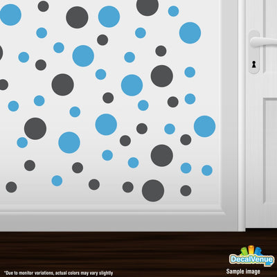 Dark Grey / Ice Blue Polka Dot Circles Wall Decals-Polka Dot Circles-Decal Venue