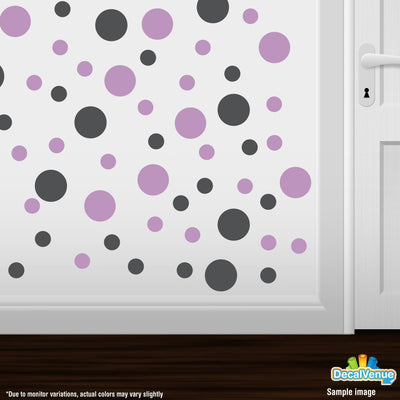 Dark Grey / Lilac Polka Dot Circles Wall Decals | Polka Dot Circles | DecalVenue.com