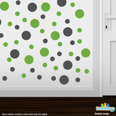 Dark Grey / Lime Green Polka Dot Circles Wall Decals-Polka Dot Circles-Decal Venue