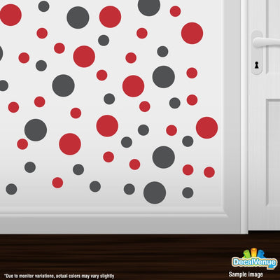 Dark Grey / Red Polka Dot Circles Wall Decals | Polka Dot Circles | DecalVenue.com