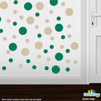 Green / Beige Polka Dot Circles Wall Decals | Polka Dot Circles | DecalVenue.com