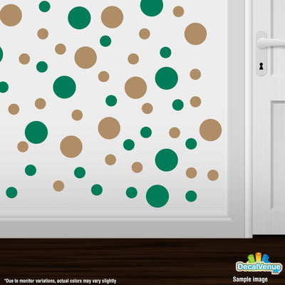 Green / Light Brown Polka Dot Circles Wall Decals-Polka Dot Circles-Decal Venue