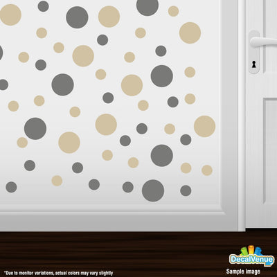 Grey / Beige Polka Dot Circles Wall Decals-Polka Dot Circles-Decal Venue