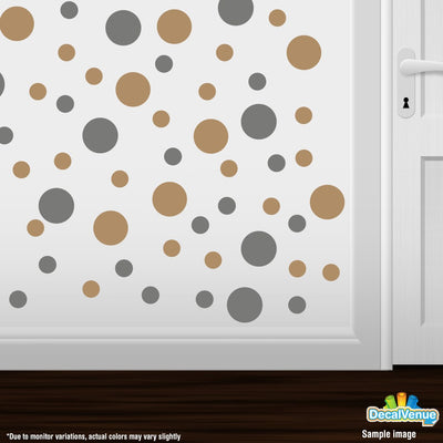Grey / Light Brown Polka Dot Circles Wall Decals | Polka Dot Circles | DecalVenue.com
