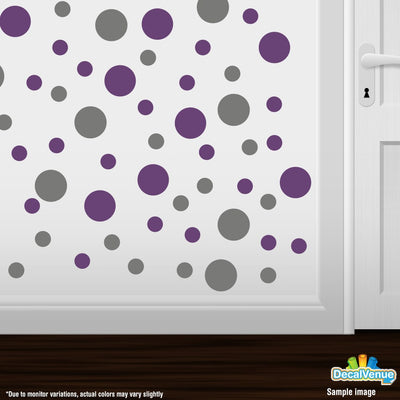 Grey / Purple Polka Dot Circles Wall Decals | Polka Dot Circles | DecalVenue.com