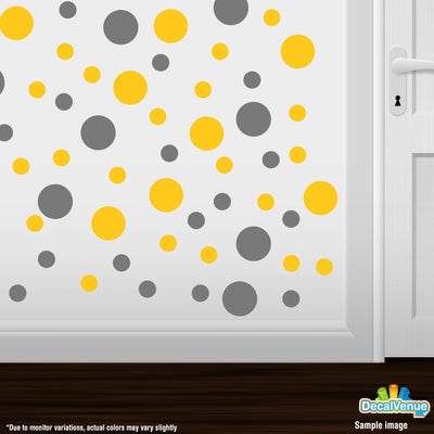 Yellow / Grey Circle Polka Dots Decal Stickers | Decal Venue