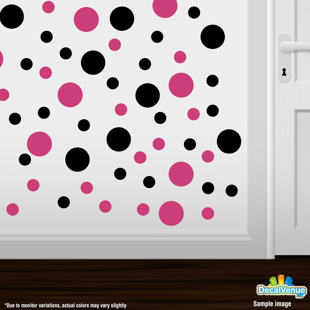 Hot Pink / Black Polka Dot Circles Wall Decals | Polka Dot Circles | DecalVenue.com