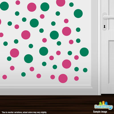 Hot Pink / Green Polka Dot Circles Wall Decals-Polka Dot Circles-Decal Venue