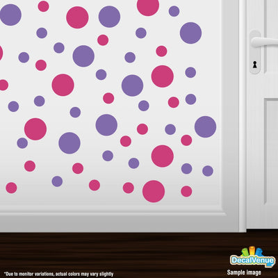 Hot Pink / Lavender Polka Dot Circles Wall Decals-Polka Dot Circles-Decal Venue