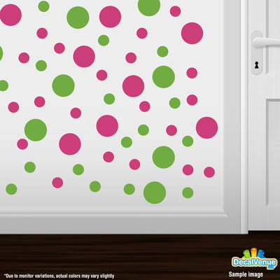 Hot Pink / Lime Green Circle Polka Dots Decal Stickers | Decal Venue