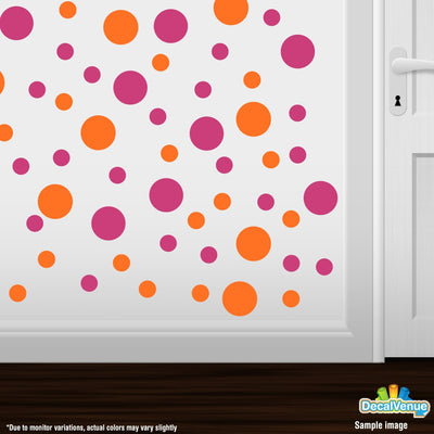 Hot Pink / Orange Polka Dot Circles Wall Decals | Polka Dot Circles | DecalVenue.com