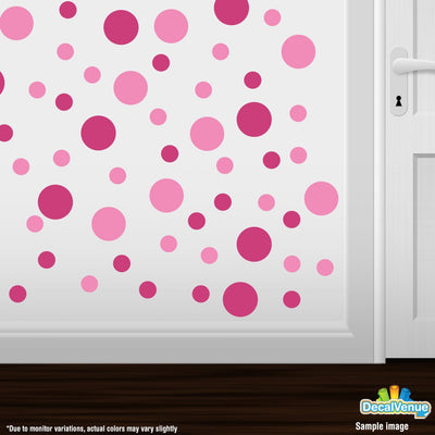 Pink / Hot Pink Polka Dot Circles Wall Decals | Polka Dot Circles | DecalVenue.com