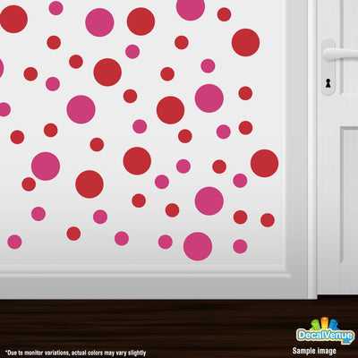 Hot Pink / Red Polka Dot Circles Wall Decals-Polka Dot Circles-Decal Venue