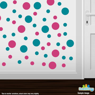 Hot Pink / Turquoise Polka Dot Circles Wall Decals | Polka Dot Circles | DecalVenue.com
