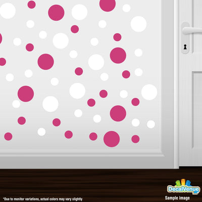 Hot Pink / White Polka Dot Circles Wall Decals-Polka Dot Circles-Decal Venue