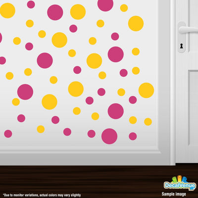 Hot Pink / Yellow Polka Dot Circles Wall Decals-Polka Dot Circles-Decal Venue