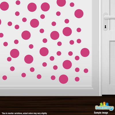 Hot Pink Polka Dot Circles Wall Decals | Polka Dot Circles | DecalVenue.com