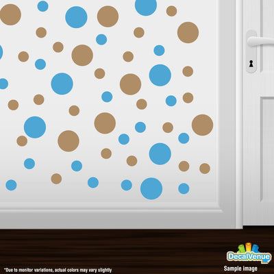 Ice Blue / Light Brown Polka Dot Circles Wall Decals | Polka Dot Circles | DecalVenue.com