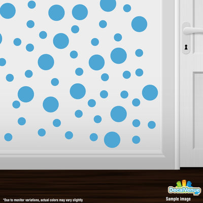 Ice Blue Polka Dot Circles Wall Decals - Polka Dot Circles at Decal Venue