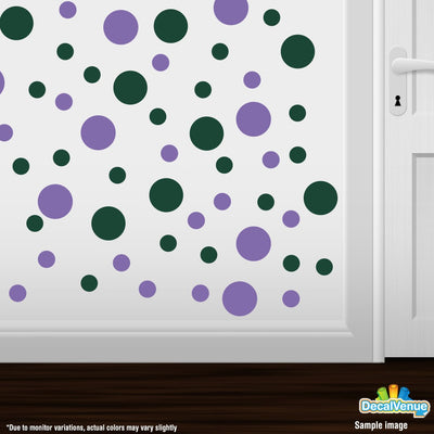 Lavender / Dark Green Polka Dot Circles Wall Decals-Polka Dot Circles-Decal Venue