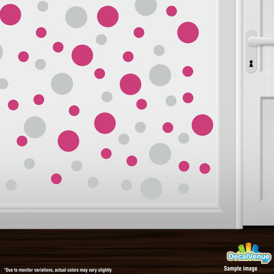 Light Grey / Hot Pink Polka Dot Circles Wall Decals-Polka Dot Circles-Decal Venue