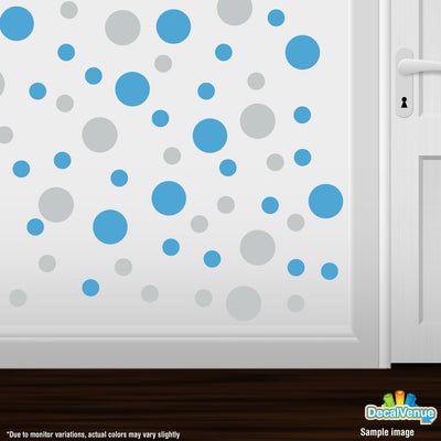 Light Grey / Ice Blue Polka Dot Circles Wall Decals-Polka Dot Circles-Decal Venue