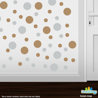 Light Grey / Light Brown Polka Dot Circles Wall Decals | Polka Dot Circles | DecalVenue.com
