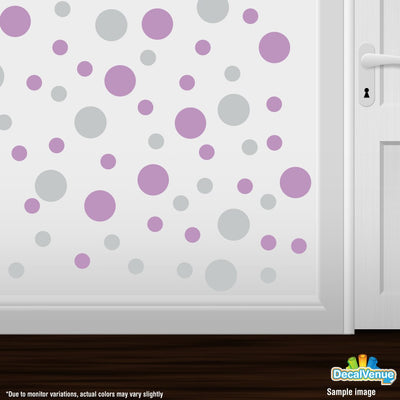 Light Grey / Lilac Polka Dot Circles Wall Decals | Polka Dot Circles | DecalVenue.com