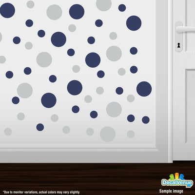 Light Grey / Navy Blue Polka Dot Circles Wall Decals | Polka Dot Circles | DecalVenue.com