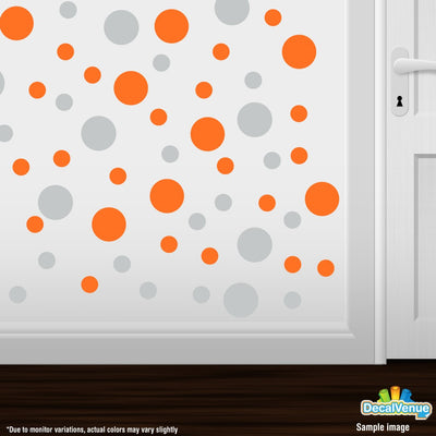Light Grey / Orange Polka Dot Circles Wall Decals | Polka Dot Circles | DecalVenue.com