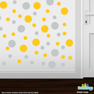 Light Grey / Yellow Polka Dot Circles Wall Decals | Polka Dot Circles | DecalVenue.com