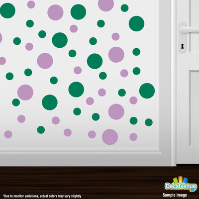 Lilac / Green Polka Dot Circles Wall Decals | Polka Dot Circles | DecalVenue.com