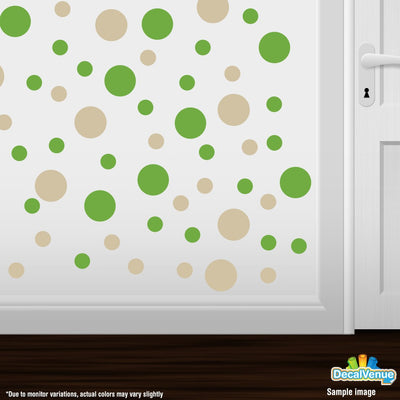 Lime Green / Beige Polka Dot Circles Wall Decals-Polka Dot Circles-Decal Venue