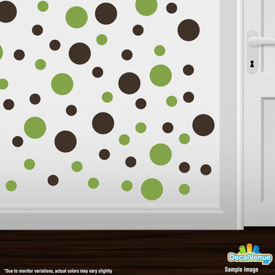 Lime Green / Chocolate Brown Polka Dot Circles Wall Decals | Polka Dot Circles | DecalVenue.com