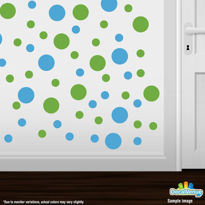 Lime Green / Ice Blue Polka Dot Circles Wall Decals-Polka Dot Circles-Decal Venue