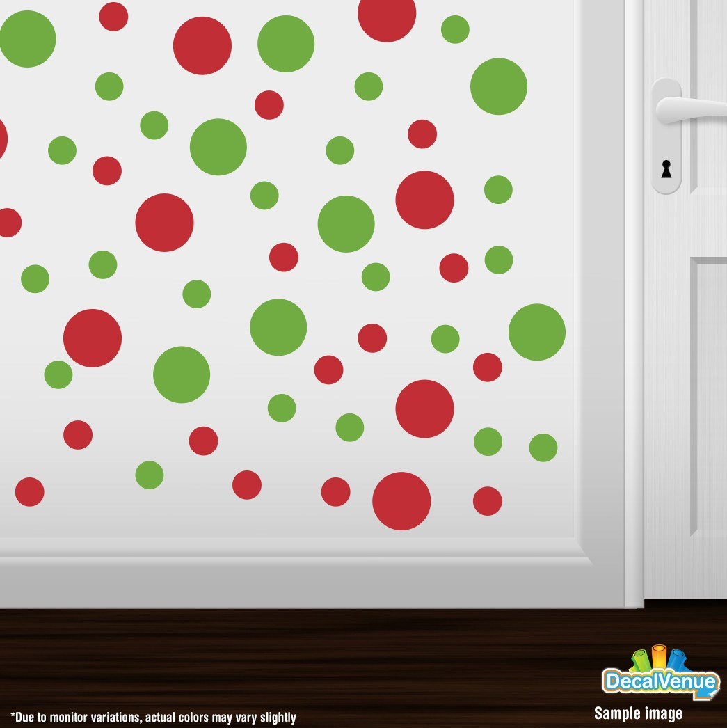 Lime Green / Red Polka Dot Circles Wall Decals | Polka Dot Circles | DecalVenue.com