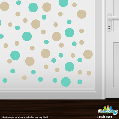 Mint Green / Beige Polka Dot Circles Wall Decals-Polka Dot Circles-Decal Venue