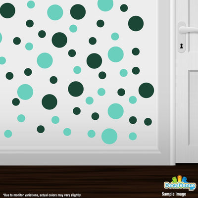 Mint Green / Dark Green Polka Dot Circles Wall Decals | Polka Dot Circles | DecalVenue.com