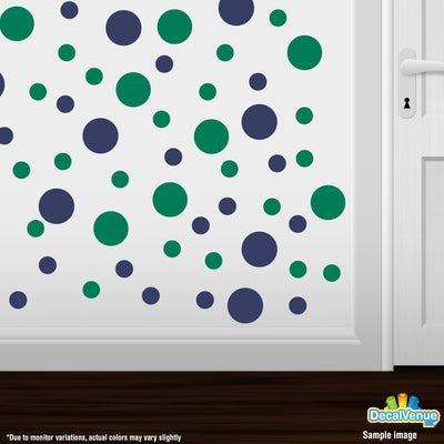 Navy Blue / Green Polka Dot Circles Wall Decals-Polka Dot Circles-Decal Venue
