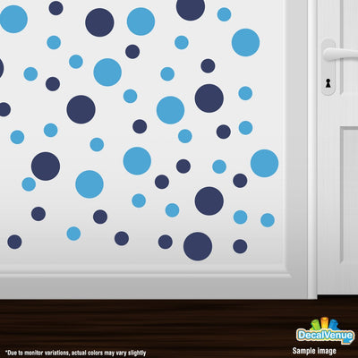 Navy Blue / Ice Blue Polka Dot Circles Wall Decals-Polka Dot Circles-Decal Venue