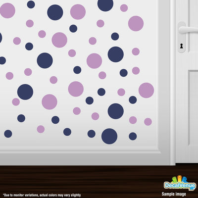 Navy Blue / Lilac Polka Dot Circles Wall Decals-Polka Dot Circles-Decal Venue