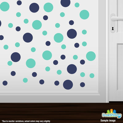 Navy Blue / Mint Green Polka Dot Circles Wall Decals-Polka Dot Circles-Decal Venue