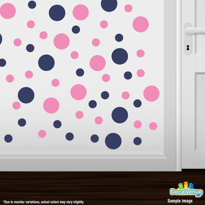 Navy Blue / Pink Polka Dot Circles Wall Decals-Polka Dot Circles-Decal Venue