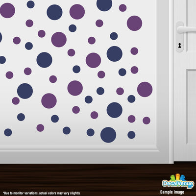 Navy Blue / Purple Polka Dot Circles Wall Decals | Polka Dot Circles | DecalVenue.com